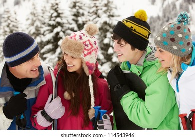 Family On Ski Holiday In Mountains