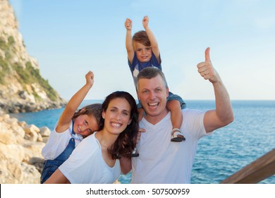family on summer vacation, mum dad and children