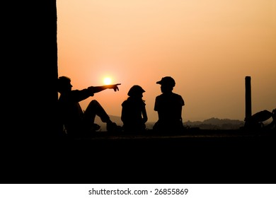 family on the sunset