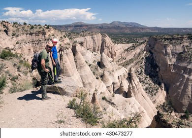 Family on the top of the mountain. Kasha-Katuwe Tent Rocks National Monument, Cochiti, NM, USA