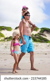 Family on a tropical beach