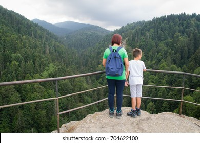 Family on vacation in mountains