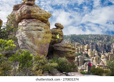 Family on vacation in the mountains/ Echo Canyon Trail. Chiricahua National Monument, Arizona, United States