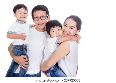 Family on a white background