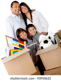 Family packing in boxes for moving house - isolated over a white background