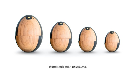 Family penguin in wooden russian dolls standing isolated white background