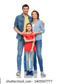 family and people concept - happy smiling mother, father and little daughter over white background