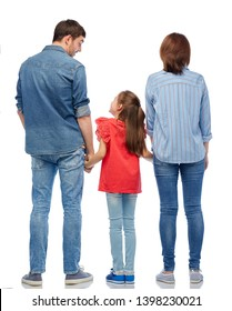 family and people concept - mother, father and little daughter holding hands and talking over white background from back