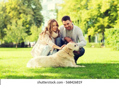 family, pet, animal and people concept - happy couple with labrador retriever dog walking in city park