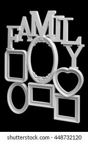Family photo frame with white inscriptions family. Isolated on black background with clipping path