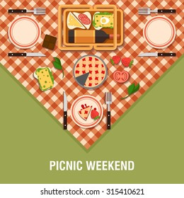 Family picnic glade illustration. Food and pastime icons. Flat. Food object, picnic items. Design of invitation card. Creative holiday banner . Natural ingredients on tablecloth .