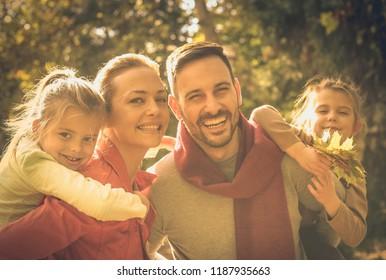 Family portrait. Autumn season.