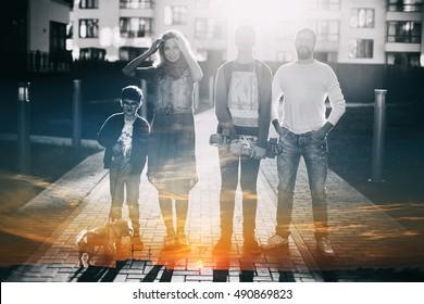 family portrait, double exposure