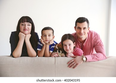 Family portrait indoors