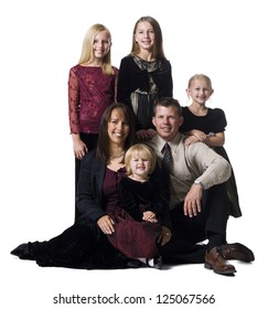Family portrait of parents and daughters