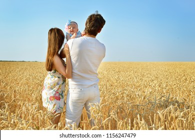 Family portrait. Picture of happy loving father, mother and their baby outdoors. Daddy, mom and child against summer blue sky. Back view.
