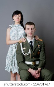 Family portrait of russian soldier and his girl