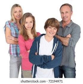 Family portrait standing on white background