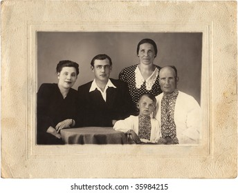Family portrait. Ukraine (composed USSR), mid 20 century. In old frame