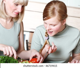 Family preparation of meal