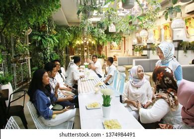 family ramadan fasting people group. yogyakarta indonesia. april 20, 2019.