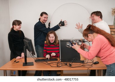 The family rejoices to acquisition of the new computer.