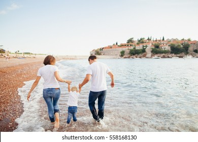 family relax on beach. Family travel sea side.