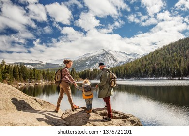 Family in Rocky mountains National park in USA