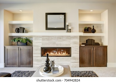 Family room design with traditional fireplace framed by built in shelves and cabinets. Northwest, USA