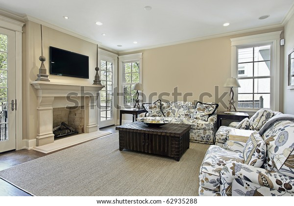 Family Room Luxury Home Fireplace Stock Photo (Edit Now) 62935288
