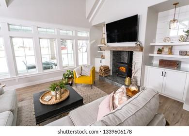 A family room in a modern farmhouse.