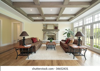 Family room with wood beam ceiling