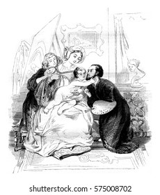 A family scene, vintage engraved illustration. Magasin Pittoresque 1842.