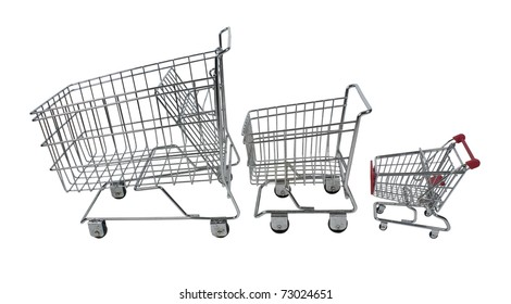 Family shopping carts made of metal in three sizes used for carrying groceries - path included