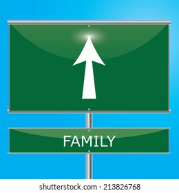 Family Sign Illustration - Green road sign with arrow pointing onwards