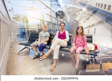 Family sitting in waiting area, train and airplane, travel concept, collage