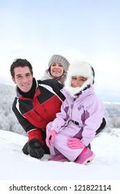 family at ski resort