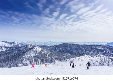 Family skiers in whitefish