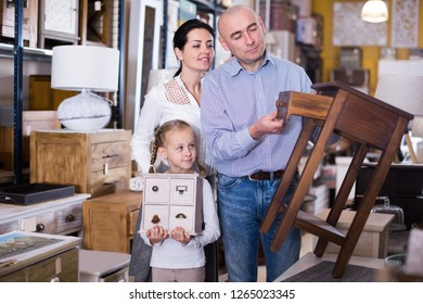 Family with small daughter buying  new furniture in specialised shop