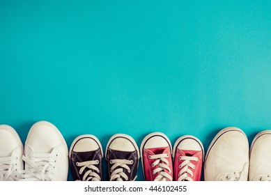 Family of sneakers, Blue background