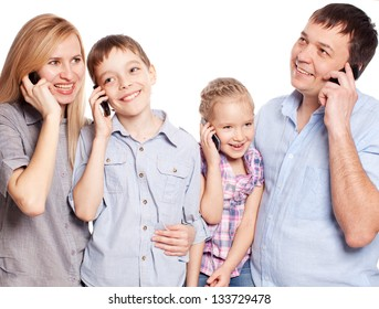 Family, speaking on the phone. People with mobile phone