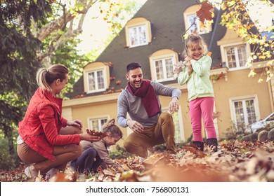Family spending time together. Autumn season.