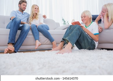 Family spending time together in their living room
