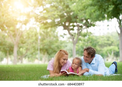 Family spending weekend in the park