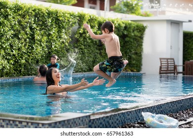 Family spent time together at swimming pool