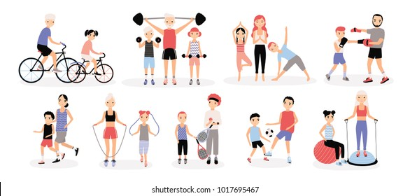 Family sports activity collection. Mothers and fathers with children set. Bosu, weightlifting, boxing, jumping rope, tennis, football, jogging, yoga cycling training Colorful illustration