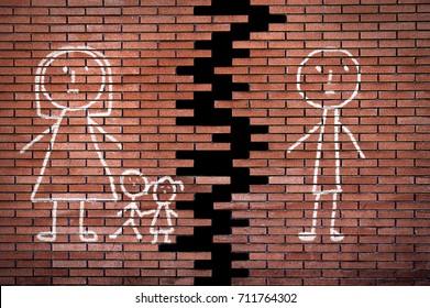 Family of stick figures on broken brick wall in divorce concept