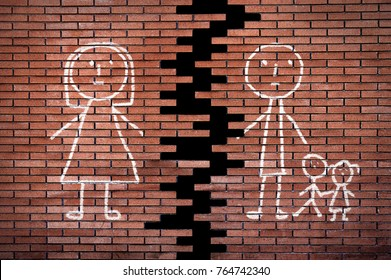 Family of stick figures on broken brick wall in divorce concept.The children with their father