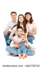 Family Studio Portrait, Happy Parents and Three Children with Baby on White Background