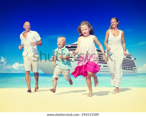 Family Summer Beach Relaxation Vacation Concept